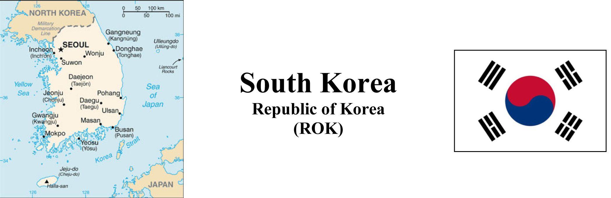 South Korea Map & Flag
