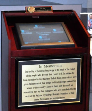 In Memoriam Registry kiosk