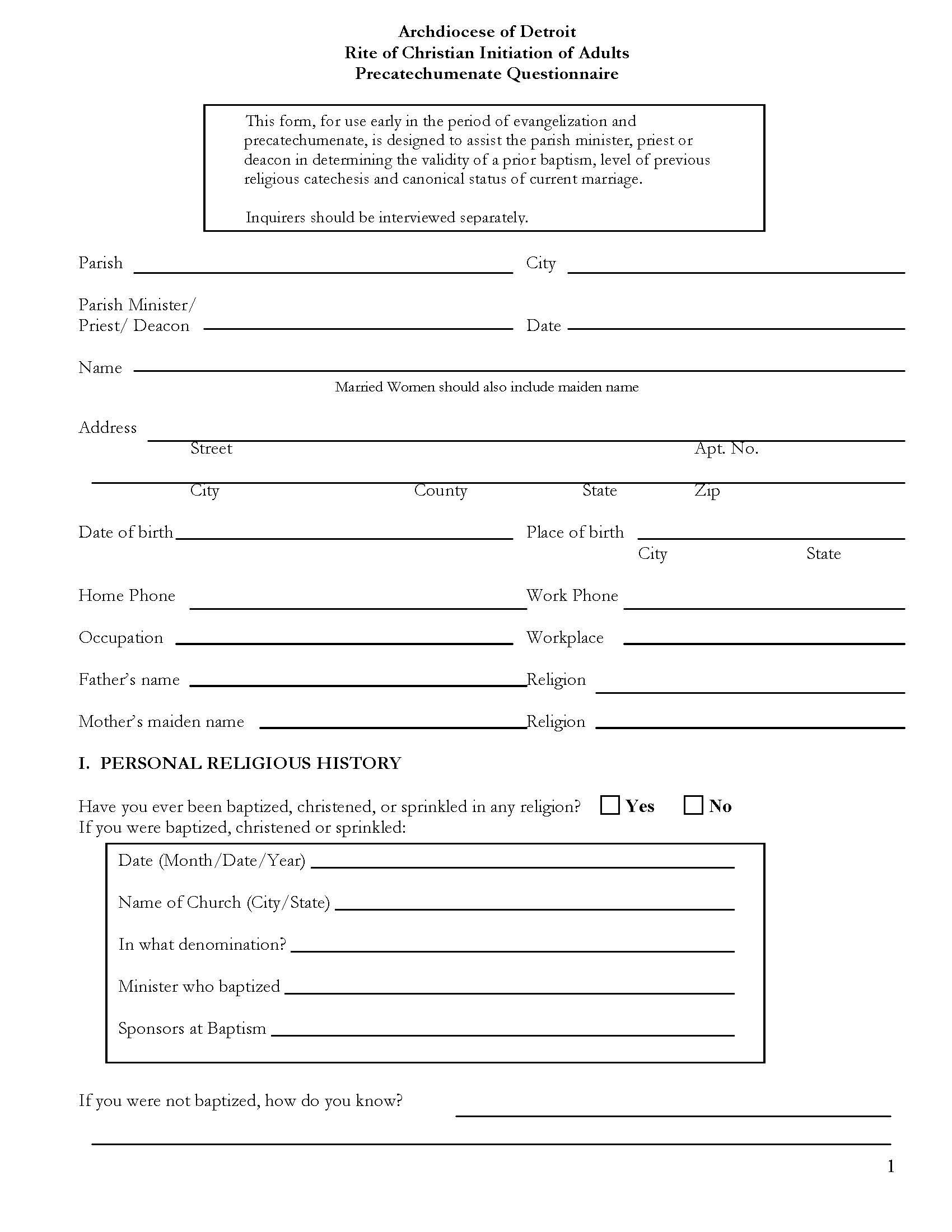 RCIA Precatechumenate Questionnaire