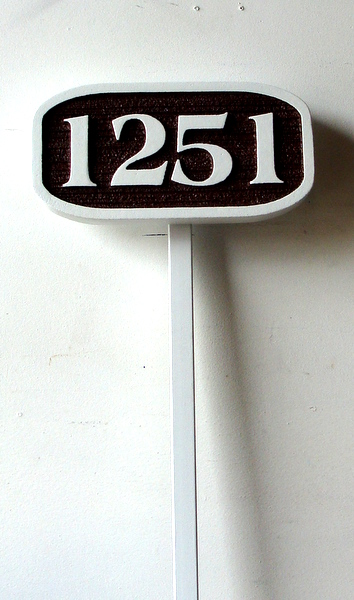 I18870 -  Sandblasted HDU Address Number Sign, Oblong, with Wrought Iron Stake