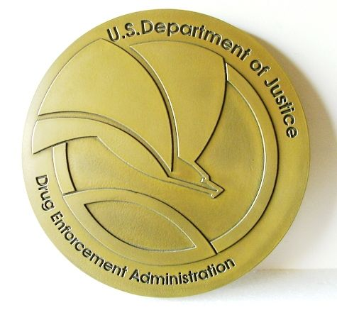 M7128- Brass Wall Plaque for Department of Justice Great Seal (new version)