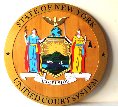 W32371- 2.5-D Carved Wooden Wall Plaque with the Seal of the State of New York Unified Court System (version 2)