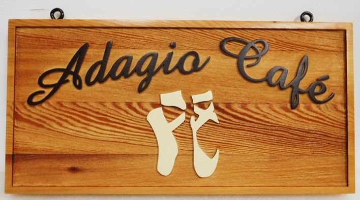 "Q25657 - Carved and Sandblasted Cedar Wood Sign for ""Adagio Cafe"", with Raised Text, Border and Tree Logo as Artwork"