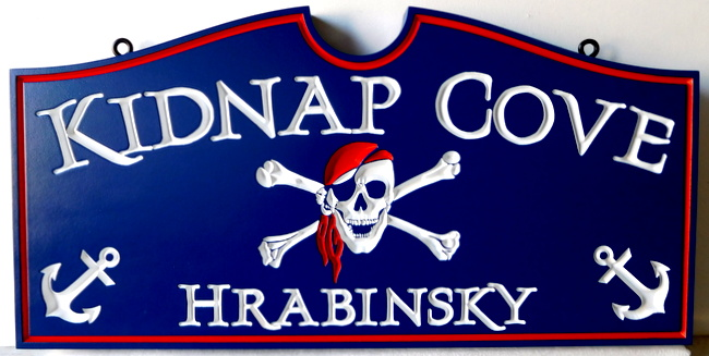 """L22010 - Engraved HDU Sign """"Kidnap Cove"""" with Pirate's Skull and Crossbones"""