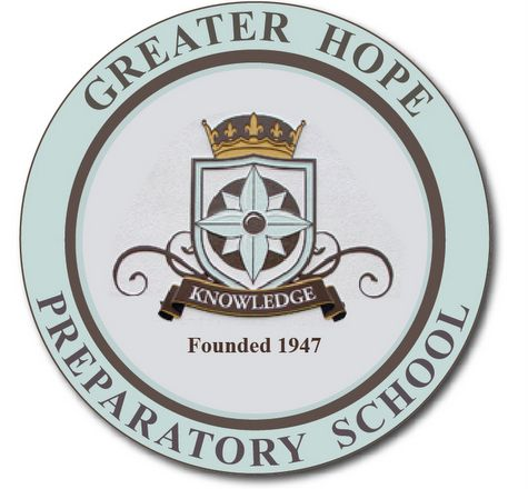 TP-1120- Carved Wall Plaque of the Seal / Logo of Greater Hope Preparatory School,  Artist Painted