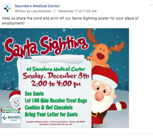 Santa Sighting | Saunders Medical Center Auxiliary