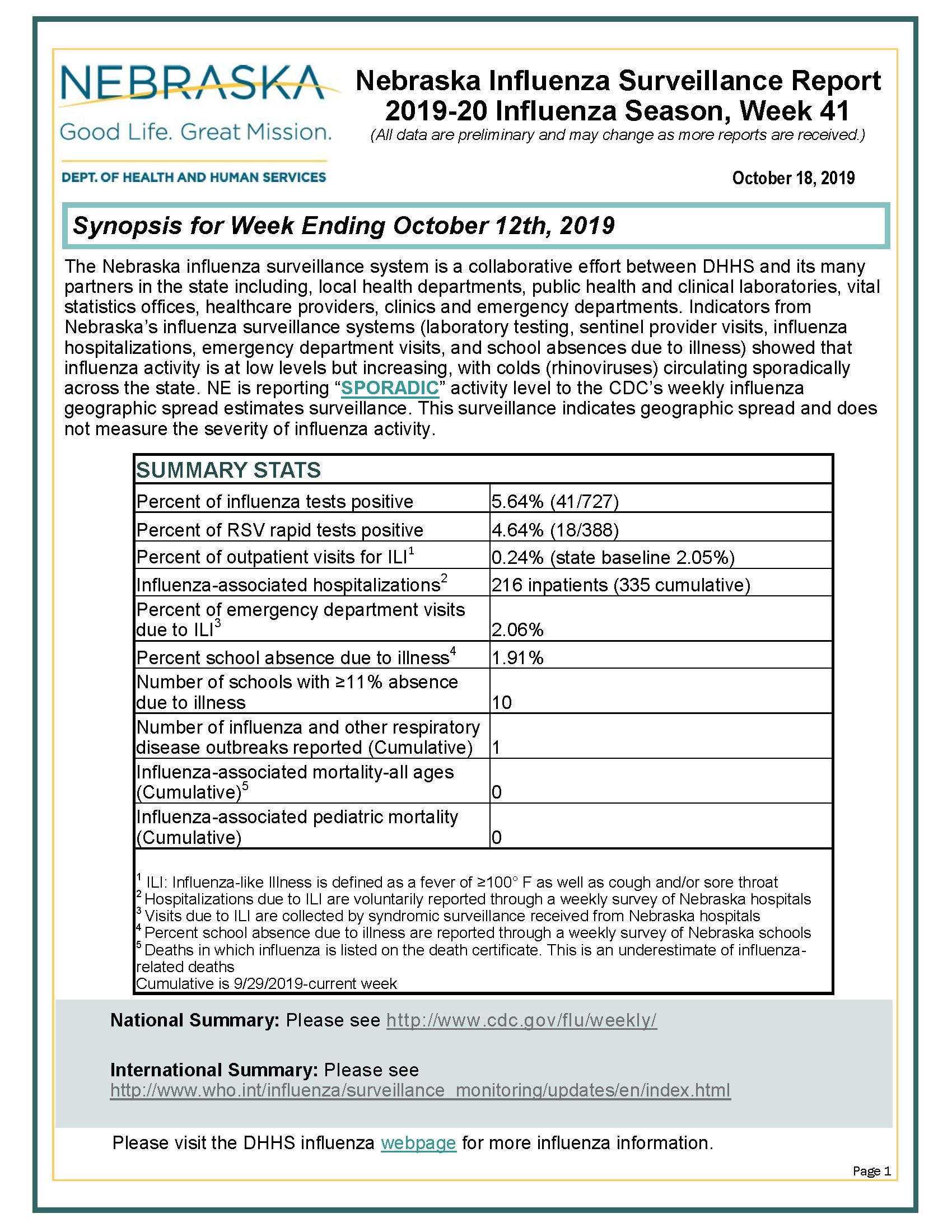 Nebraska Influenza Surveillance Report 2019-20 Influenza Season Week 41