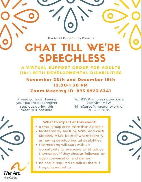 Virtual Support Group for People with Developmental Disabilities