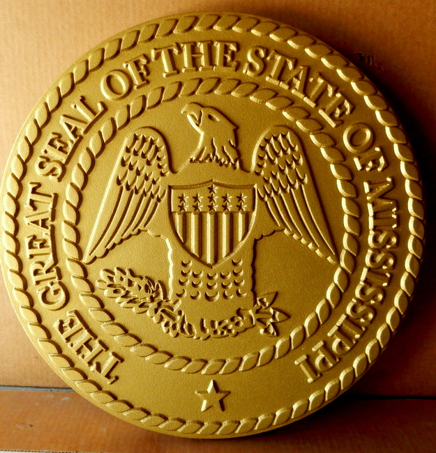 BP-1280- Carved Plaque of the Great Seal of the State of Mississippi, Painted Metallic Gold