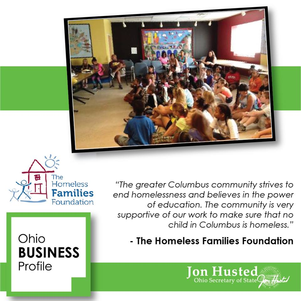 Ohio Secretary of State Recognized The Homeless Families Foundation