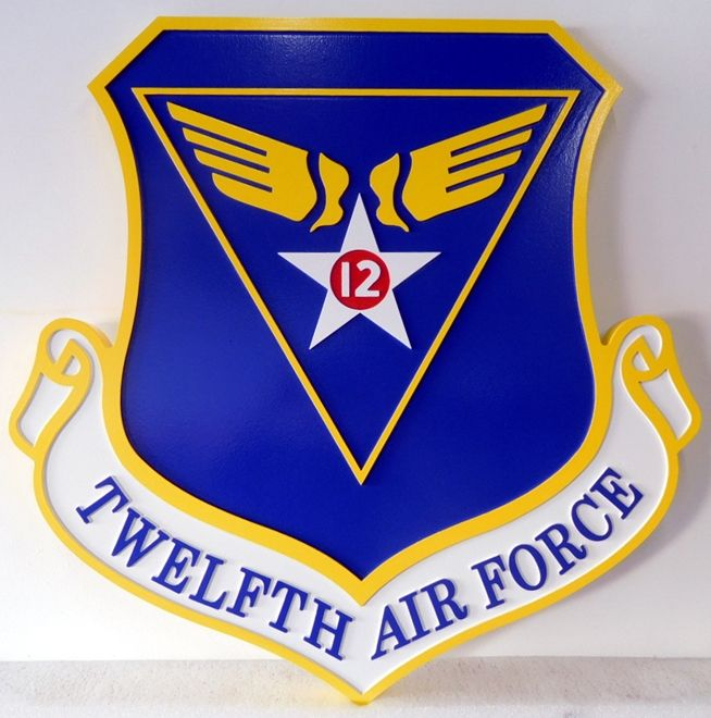 LP-1585 - Carved  Shield Plaque of the  Crest of the Twelfth Air Force, 2.5-D  Artist Painted