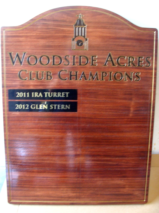 E14715 - Engraved Wood Golf Club Champion Plaque, with Name Plates
