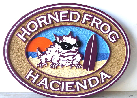 "L21106 -Beach House Carved Wood Sign, ""Horned Frog Hacienda"""