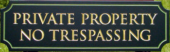 I18962 - Private Property No Trespassing Wooden Sign Engraved Gold-Leaf Text