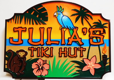 "Q25119 - Carved Sign  for ""Julia's Tiki Hut""  Restaurant, 2.5-D Arist-Painted with a Parrot, Palm Trees, Hibiscus Flowers with a Tropical Beach as Artwork"