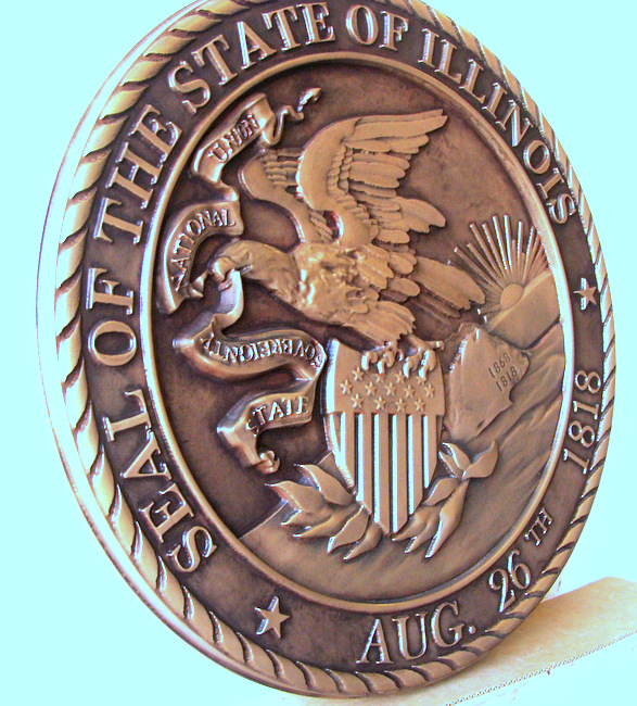 M7006 - Bronze Wall Plaque of the Seal of the State of Illinois, Left Side View