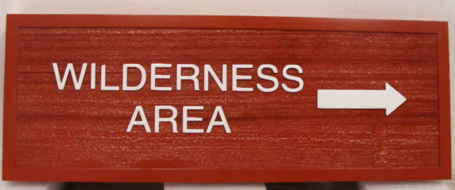 G16109 - Wooden Directional Sign with Arrow Pointing to Wilderness Area
