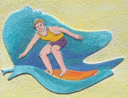 L21030 - Carved Surfer Art for Surfer Sign