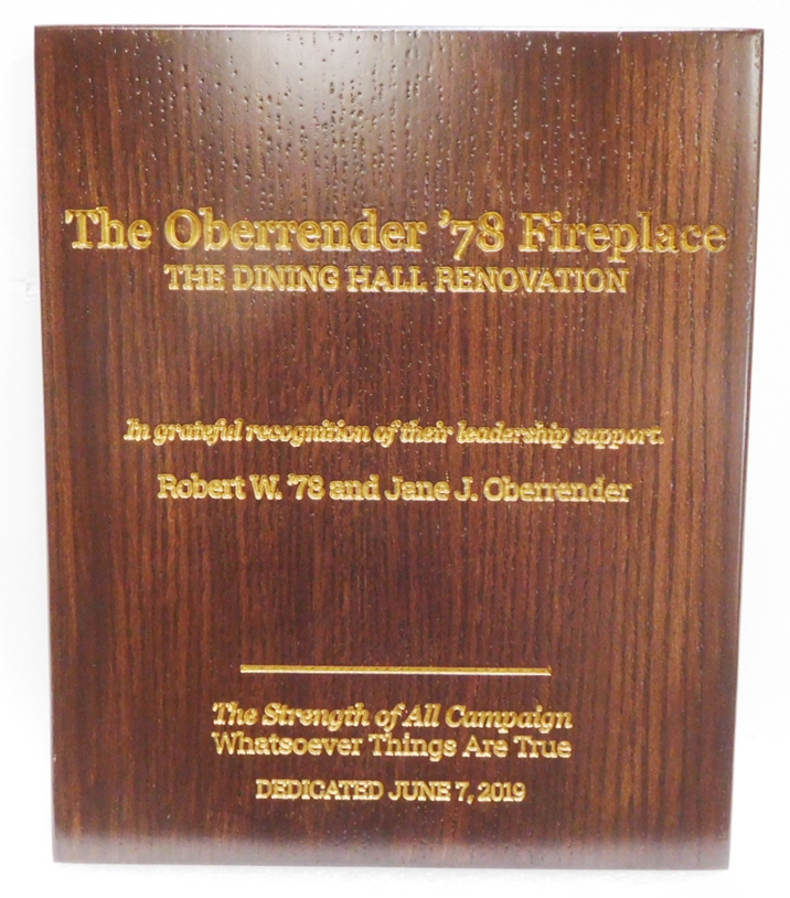 SP-1700 - Plaque for Dedication of a Fireplace in a Fraternity Dining Room, Engraved Red Oak with Gold Leaf Gilded Text