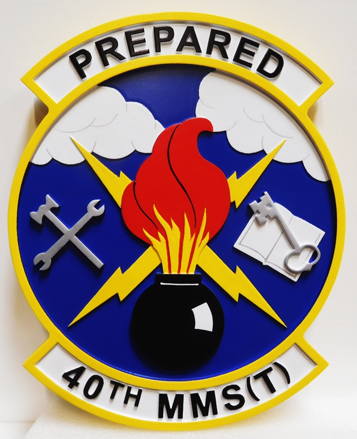 LP-2850 - Carved Plaque of the Crest of the Air Force 40th MMS(T), 2.5-D Artist-Painted