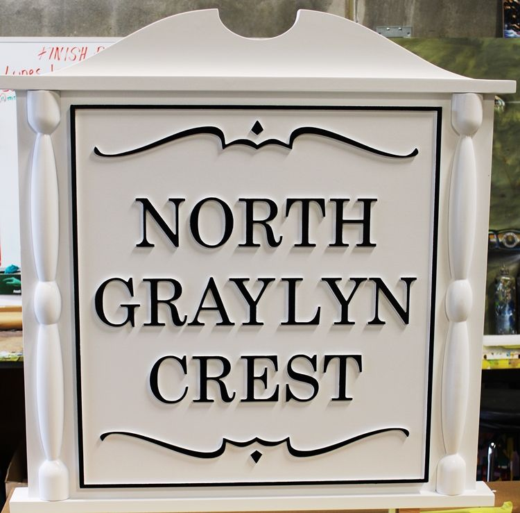 "K20075 - Carved  Classical  Carved High-Density-Urethane (HDU)  Entrance Sign for ""North Graylyn Crest"" Community"
