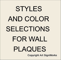 1. U30001 - Wall Plaque Style and Color Selection Summary