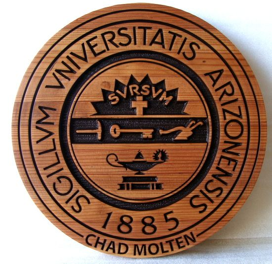 Y34330 - Carved 2.5-D Cedar Wall Plaque of the Great Seal of the University of Arizona