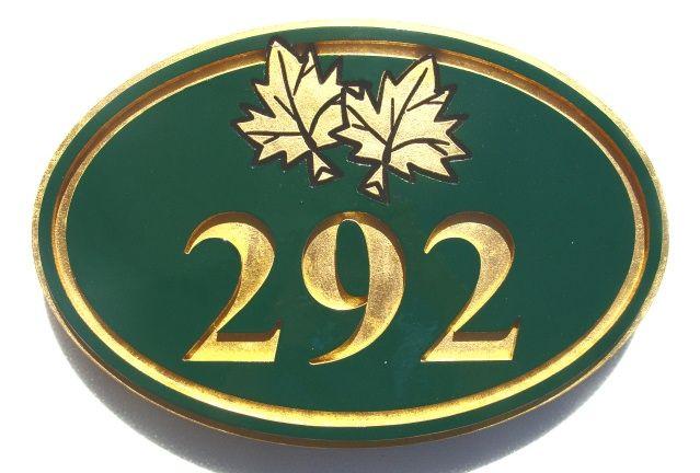 T29195 - Engraved  HDU  Room Number Plaque with  Maple Leaf , 24K Gold-Leaf