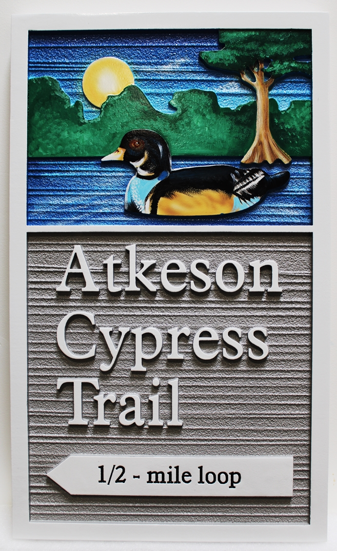 G16101-  Carved  HDU Atkeson Cypress Trail Sign for the Wheeler National Wildlife Refuge  Observation Building, 2.5-D Artist Painted, with  Duck, Lake and Cypress Tree as Artwork