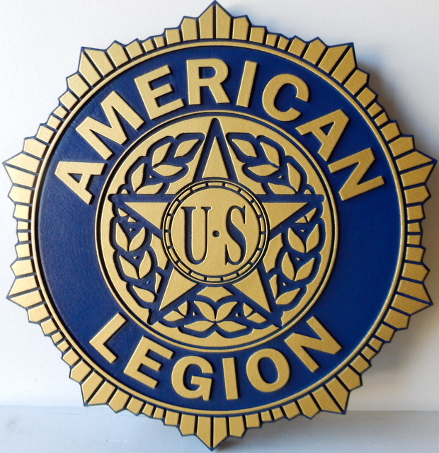 EG504 - Carved 2.5-D  Hand-painted Wall Plaque of the Seal of the American Legion