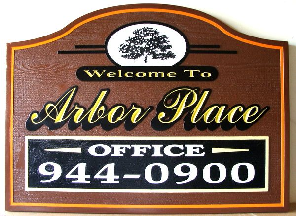 "K20156 - Carved Cedar Wood  Apartment Sign, ""Arbor Place"", with Tree and 24K Gold Script"