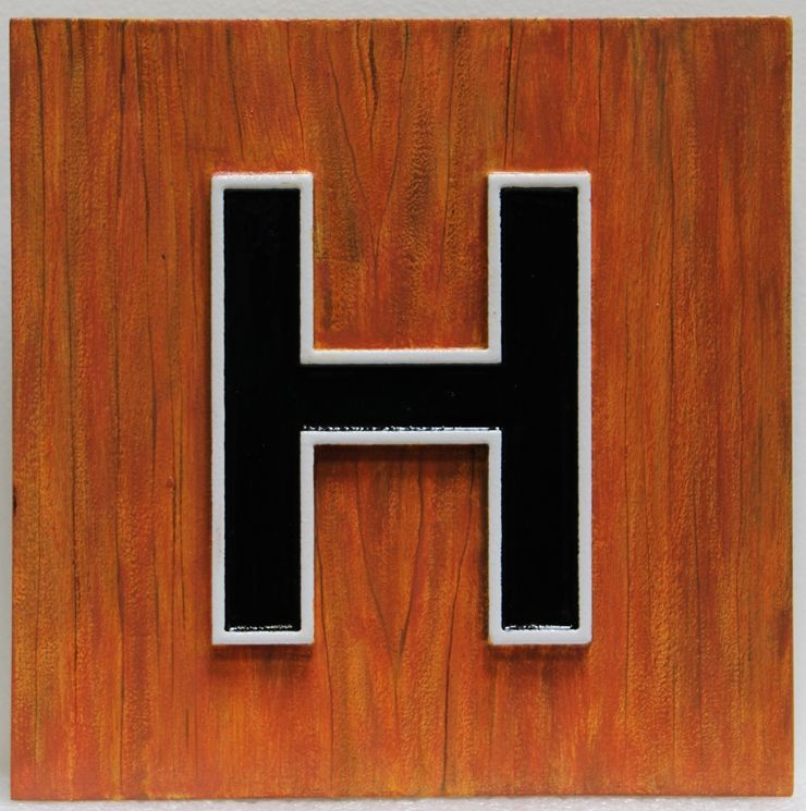 "UP-2160 - Wood Wall Plaque of the ""H"" Logo of  a Club"