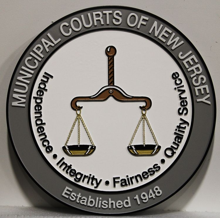HP-1062 - Carved 2,5-D Raised Relief Plaque of the  Seal of the Municipal Courts of New Jersey