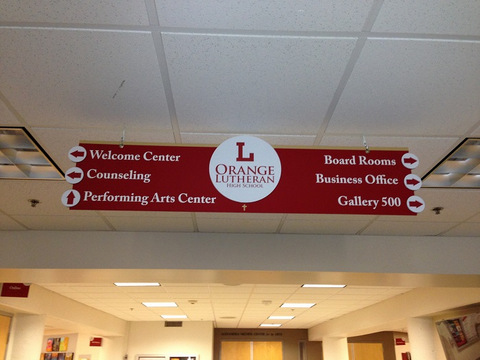 Hanging directional signs for schools in Orange County