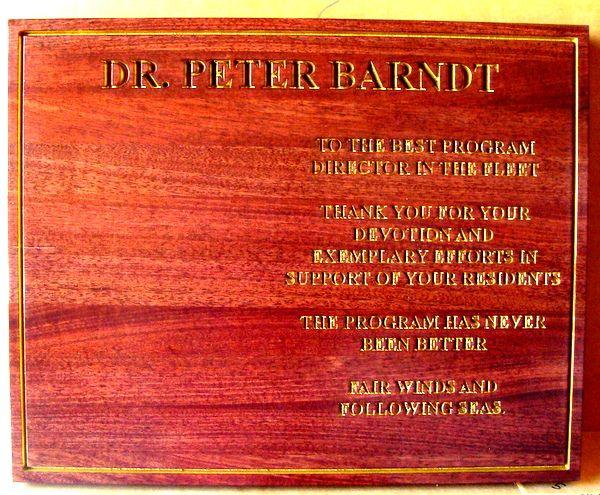 V31374 – Engraved Cedar Citation Plaque to Dr. Peter Barndt