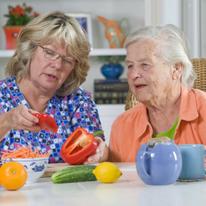 Personal Care Attendant slicing vegetables with older woman