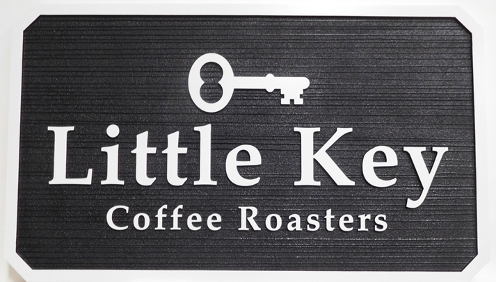 "Q25421 - Carved and Sandblasted Wood Grain HDU Sign for ""Little Key"" Coffee Roasters, 2.5-D"