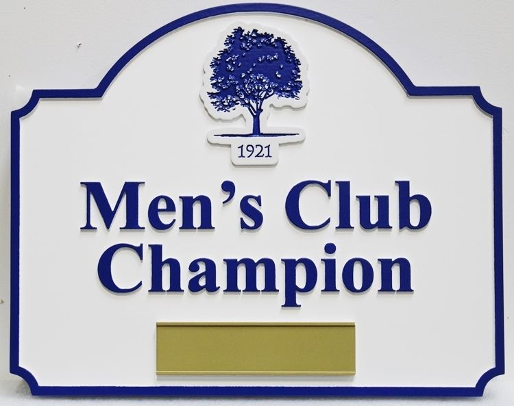 """E14242- Carved HDU  Reserved Parking Space Sign for the""""Men's Club Champion"""""""