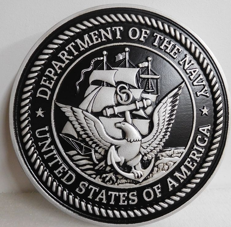 JP-1100 -  Carved Plaque of the Great Seal  of the US Navy, Painted Metallic Silver with Hand-rubbed Black