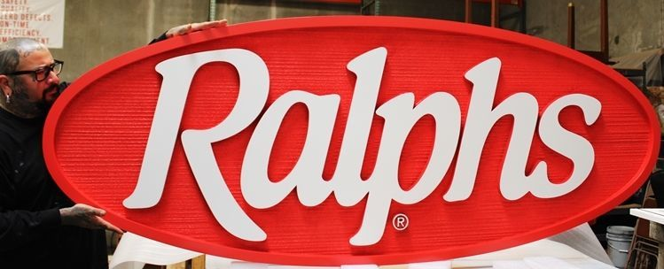 S28193 - Large Carved  2.5-D and Sandblasted Wood Grain Sign for Ralphs Market