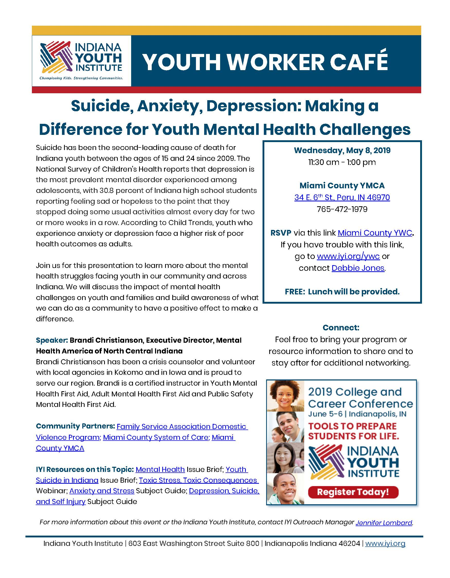 IYI Youth Worker Cafe for May is Mental Health Month