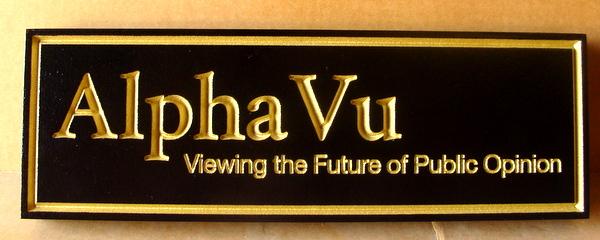"""SA28757 - Engraved  HDU Sign """"Alpha Vu""""  with 24K Gold-Leaf Lettering"""