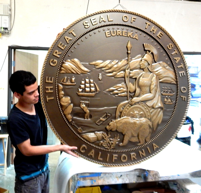W32031 - Large Carved 3-D Bas-Relief Bronze-coated Wall Plaque of the Great Seal of California.