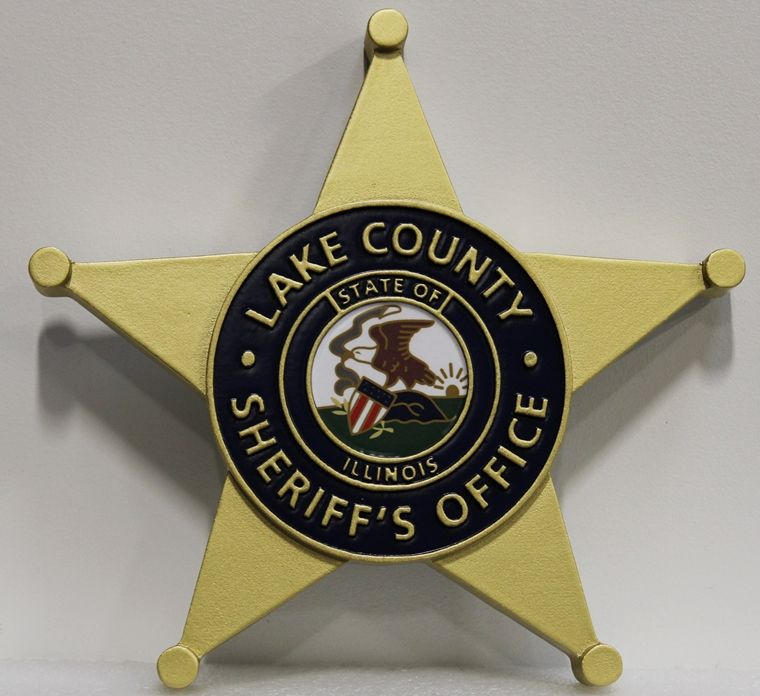 PP-1682 - Carved 2.5-D HDU Wall Plaque of the Star Badge of the Sheriff's Office of Lake County, Illinois
