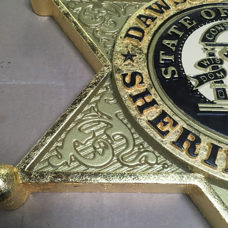M7333- Carved 3D Gold-Leaf Gilded Wall Plaque (Close-up)  of the Badge of the Dawson County Sheriff's Office