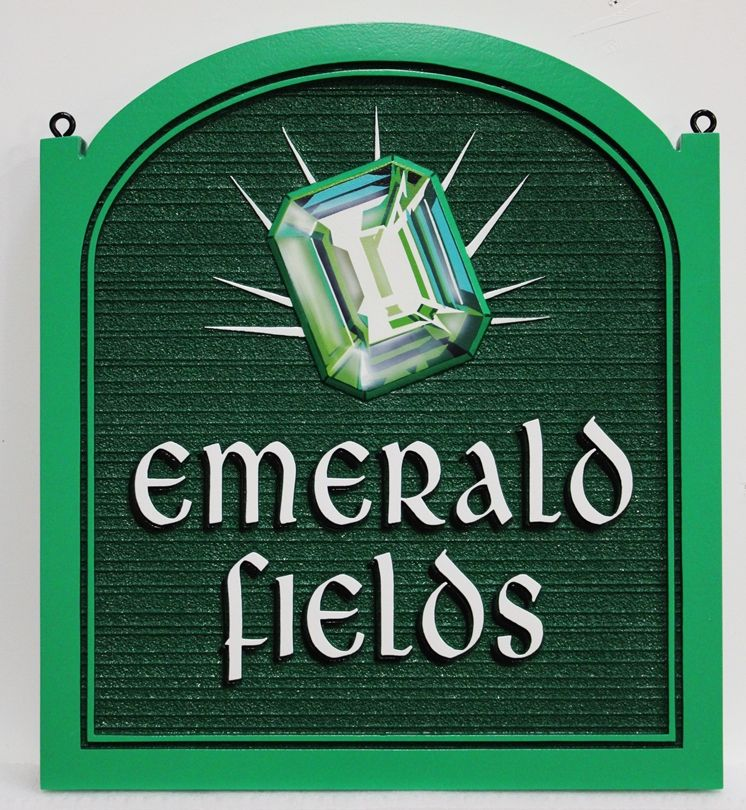 "GA16505 - Beautiful Carved and Artist-Painted High-Density-Urethane (HDU) Park  Sign  for ""Emerald Fields"""