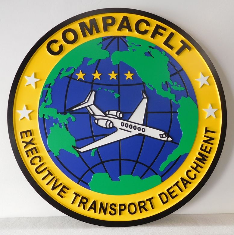 V31236 -  Custom 2.5-D  Carved  HDU Wall plaque for COMPACFLT, the Navy's  Executive Transport Detachment, with Aircraft and Globe