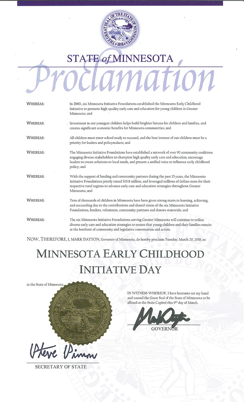 Governor Proclaims March 20 as MIF Early Childhood Day