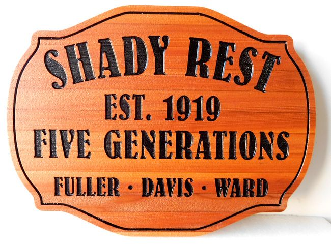 "M22011 Western Red Cedar Engraved Plaque ""Shady Rest, Five Generations"""