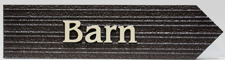 O24835 - Carved and Sandblasted Wood Grain HDU Directional Sign to a Barn.